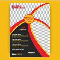 Red and Yellow Curved Stripes Restaurant Template