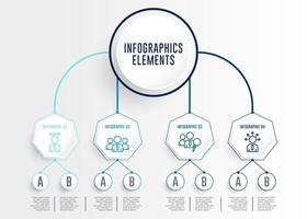 Infographics Set with Connected Circle and Hexagon
