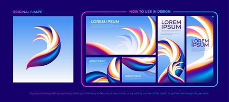 paquete de diseño de forma emplumada abstracta