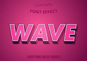 texto de onda, efecto de texto editable vector