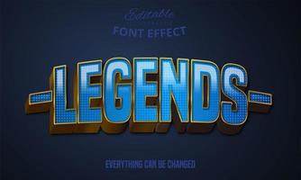 Legends blue text effect vector