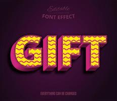 Gift text, editable text effect vector