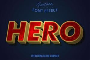 Hero text, editable text effect.  vector