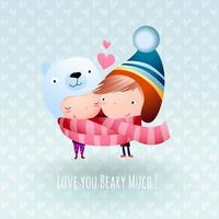 First Love Romantic Teens Snuggle to Keep Warm in Winter vector