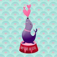 Sea Lion Performs Aquatic Show with Love Hearts vector