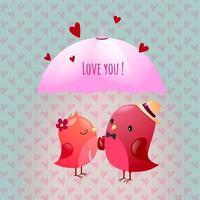 Gallant Love Bird Character Illustrations Share Umbrella Parasol vector