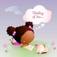 Daydreaming of Love Teen with Kitten and Spring Flowers vector