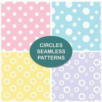 Circles pastel seamless pattern set