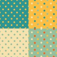 Medium size stars seamless pattern set