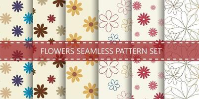 Colorful flowers seamless pattern set