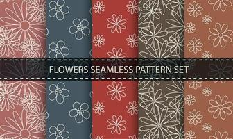 Flower outline seamless pattern set.