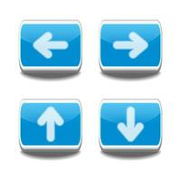 Conjunto de botón de flecha azul 3d. vector