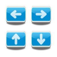 Blue 3d arrow button set. vector