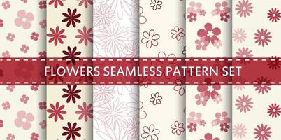 Red and pink flowers seamless pattern set