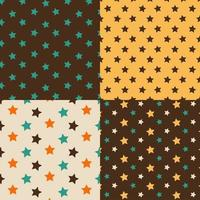 Stars brown and yellow seamless pattern set