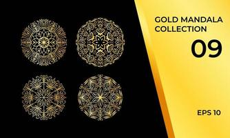 Collection of Abstract Tribal Mandalas in Gold