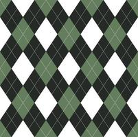 Seamless green and black argyle pattern vector