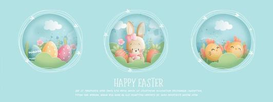 Happy Easter banner with Bunny, Eggs and Chick