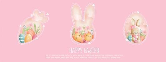 Happy Easter pink banner with bunny and chicks