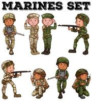 Marines in uniform cartoon set vector