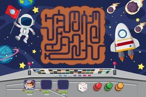 Space themed maze puzzle game template vector