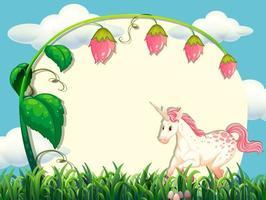 diseño de marco con flor y unicornio vector