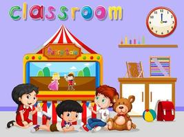 Children and  classroom banner