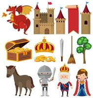 Set of isolated medieval objects theme
