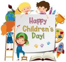 Happy children's day poster with kids drawing vector