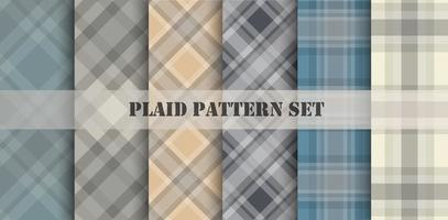 Plaid Pale Color Patterns Set
