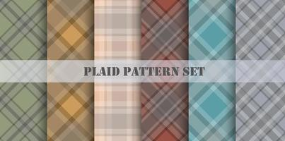 Plaid Patterns Various Colors Set