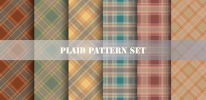 Plaid Orange and Blue Patterns Set