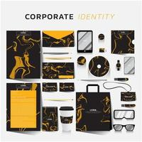 Black corporate identity set with orange marble design