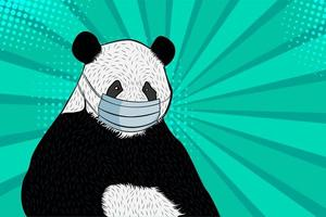 Panda in a medical mask. Pop art retro comic style.