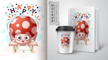 Cartoon Happy Mushroom Design vector