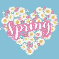 Floral heart with calligraphic lettering Spring vector