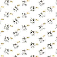 Cartoon Cats Thinking About Fish  Pattern