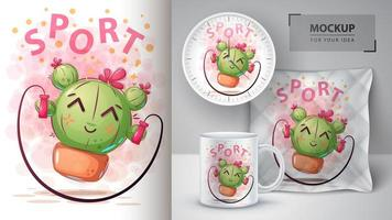 Cartoon Cactus Jumping Rope Design