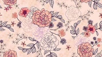 Seamless pattern of rose bouquet  on pastel background
