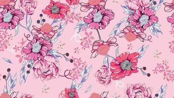Seamless pattern of flora and peonies