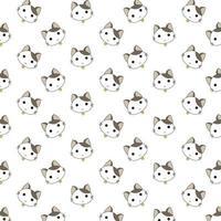 Cartoon Worried Cat Head Pattern