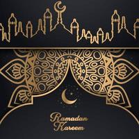 diseño de ramadan kareem de patrón dorado con horizonte