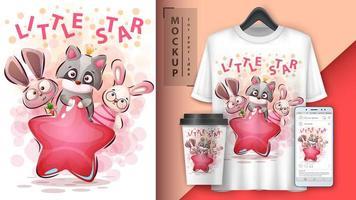 diseño de pequeños amigos animales estrella