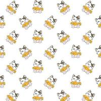 Cartoon Cats Eating Fish Pattern vector