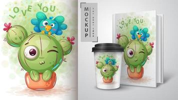 Bird and cactus love you design mock up