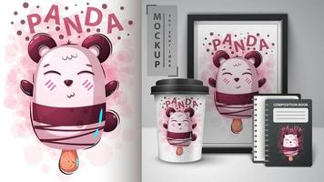 Cartoon panda ice cream mock up