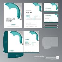 Green and White Business Template Set with Rounded Shapes