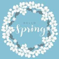 Cherry blossom round frame with hello Spring lettering vector