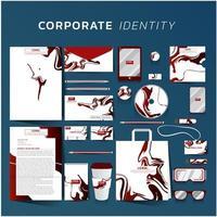 identité d'entreprise sertie d'un design en marbre rouge vecteur