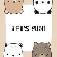 Polar, Teddy, Grizzly, Panda Bear Head Card vector